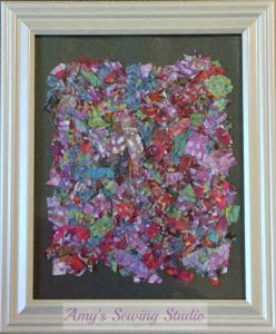 Custom Batik Fabric Scrap. Sew together a bunch little Batik Fabric Scraps to make a piece of Fabric Art to frame and display.