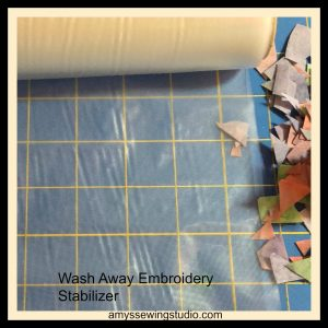 Use Wash Away Embroidery Stabilizer to hold together all the Batik Fabric Scraps while sewing your own Custom Batik Fabric Piece.