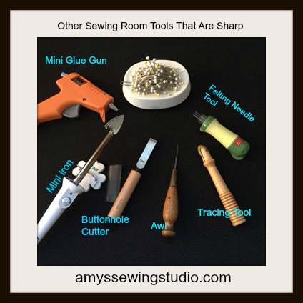 Picture of Sewing Tools. Follow sewing room safety rules while using sewing tools that are sharp or hot. Sewing Tool Safety tips for Beginners
