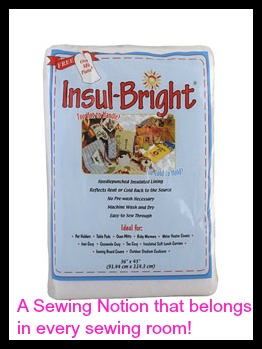 Insul Bright Insulated Batting. Use Insul-Bright,for sewing projects that need to have insulation for food.