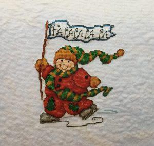 Skating Snowman with Fa La La banner Cross Stitch Picture