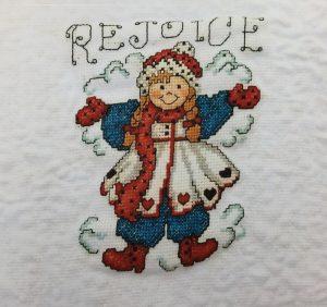 Snow Angel Finished Cross Stitch