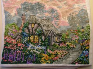 Thomas Kincaid Finished cross-stitch picture