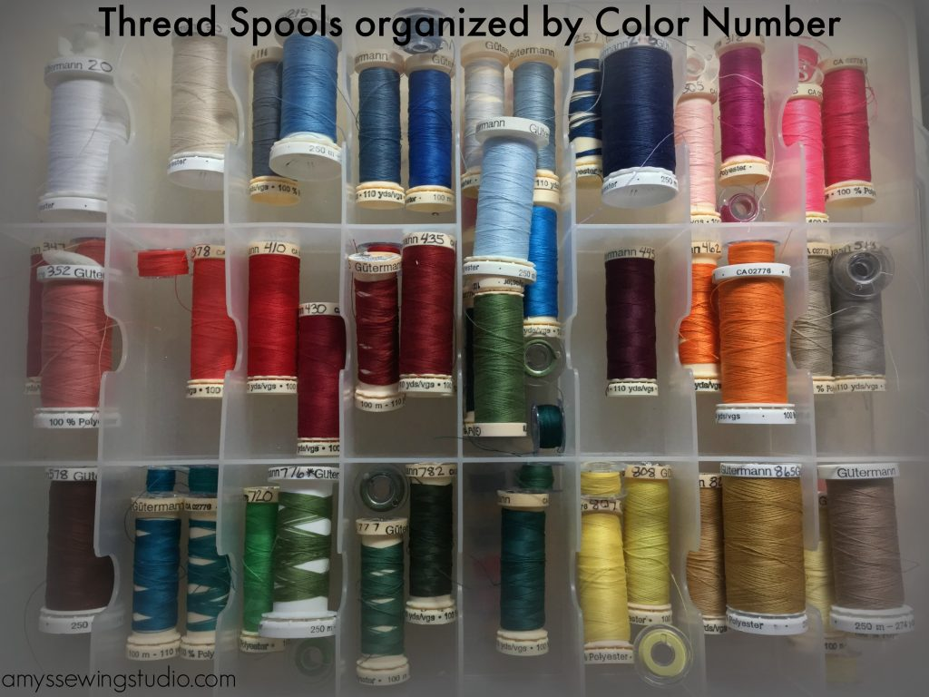 Organize-Thread-Spools/Thread spools organized by brand and in ascending color number order.