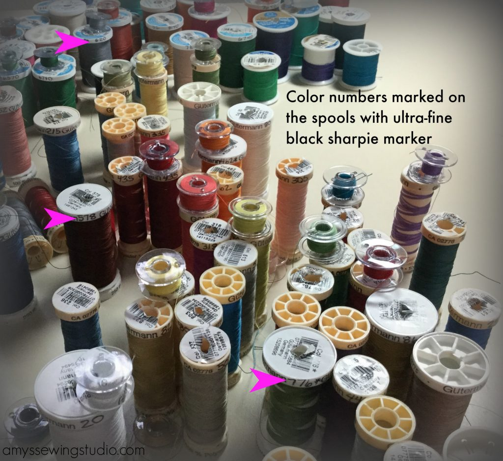 Organize Sewing Thread: Simple way to keep track of what colors you have-Organize by Brand and Color number. Use a black ultra fine sharpie marker to write color numbers on spool.