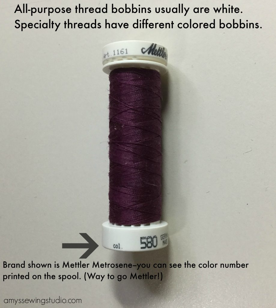Ways to organize thread; Meter Metrosene has an  All Purpose thread spool with color number printed on the spool.