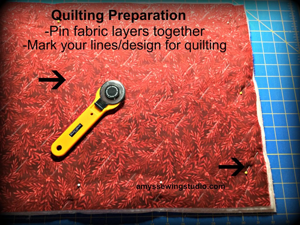 Quilting Preparation-Prepare fabric layers for quilting. Bottom layer will be fabric-wrong side up. Middle layer will be batting and top layer will be fabric with the right side facing you.  Read this Tutorial for a DIY casserole Carrier for all directions and more photos!