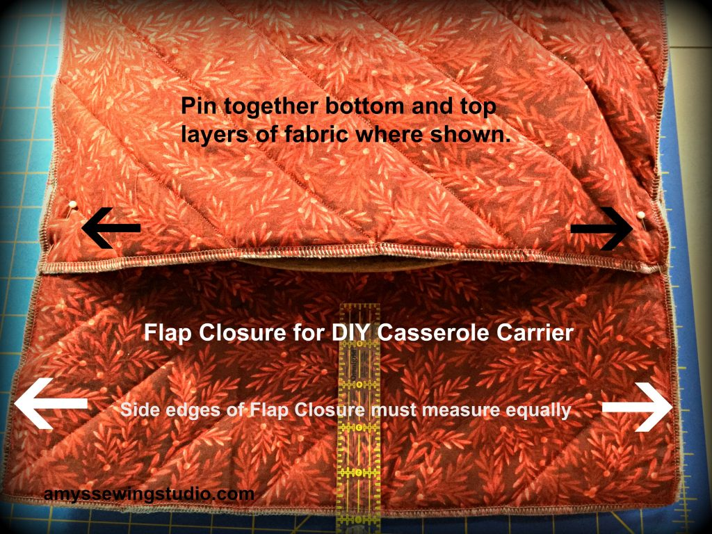 Fabric Casserole Carrier-Making the flap closure. Measure the area to be the flap and make sure fabric is pinned at edges in consistent lengths from flap edge.  Read this Tutorial for a DIY casserole Carrier for all directions and more photos!