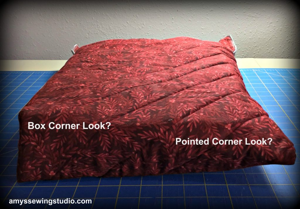 Large Fabric Casserole Carrier-Decide if you want to have a box corner look or a pointed look for the corners. Read this post for the full tutorial!