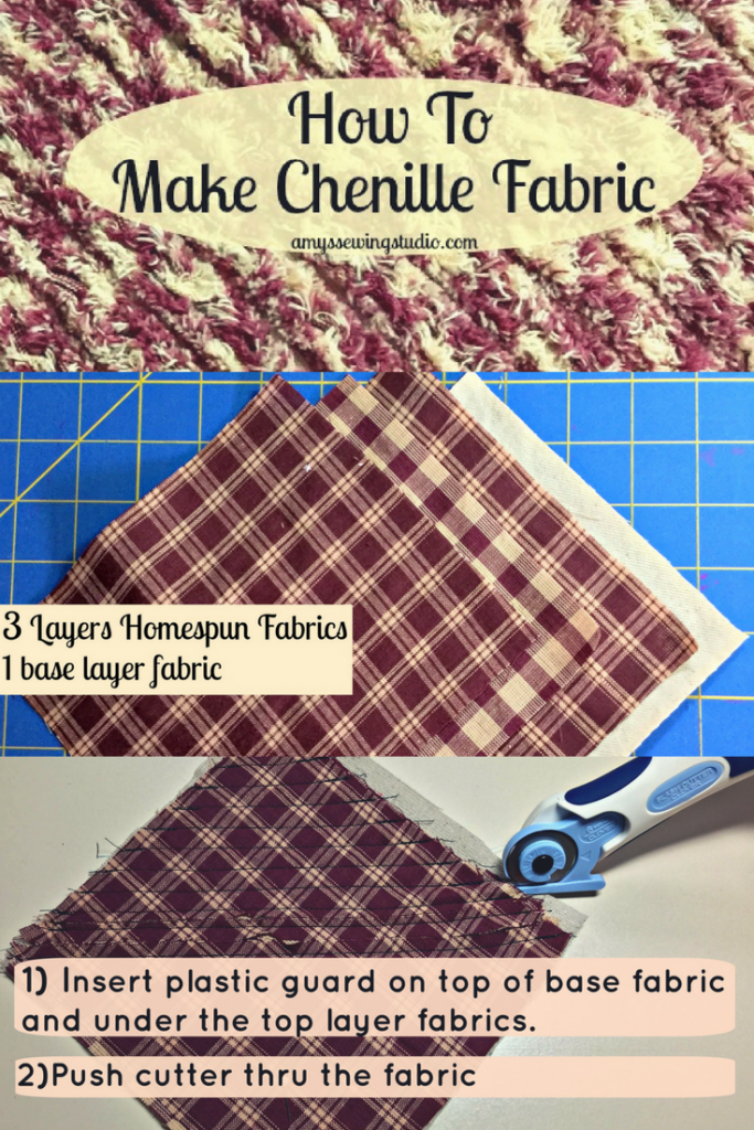 Learn How to Make Chenille Fabric. This is a fun technique using a slash rotary cutter. Click this pin to see the step by step tutorial with PLENTY of PHOTOS!