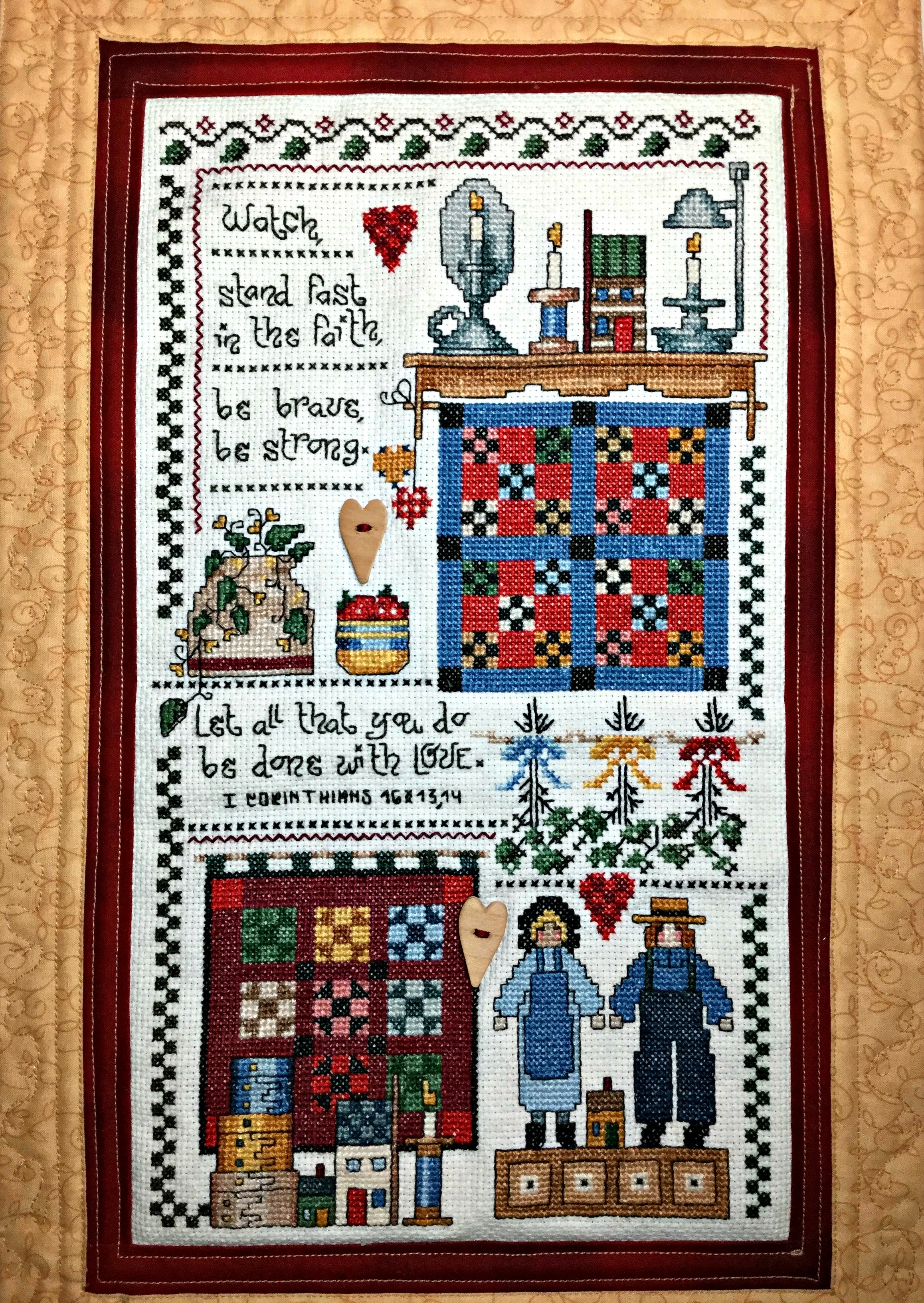Embellish Using Sewing Buttons. Ideas using buttons to finish your cross stitch projects.
