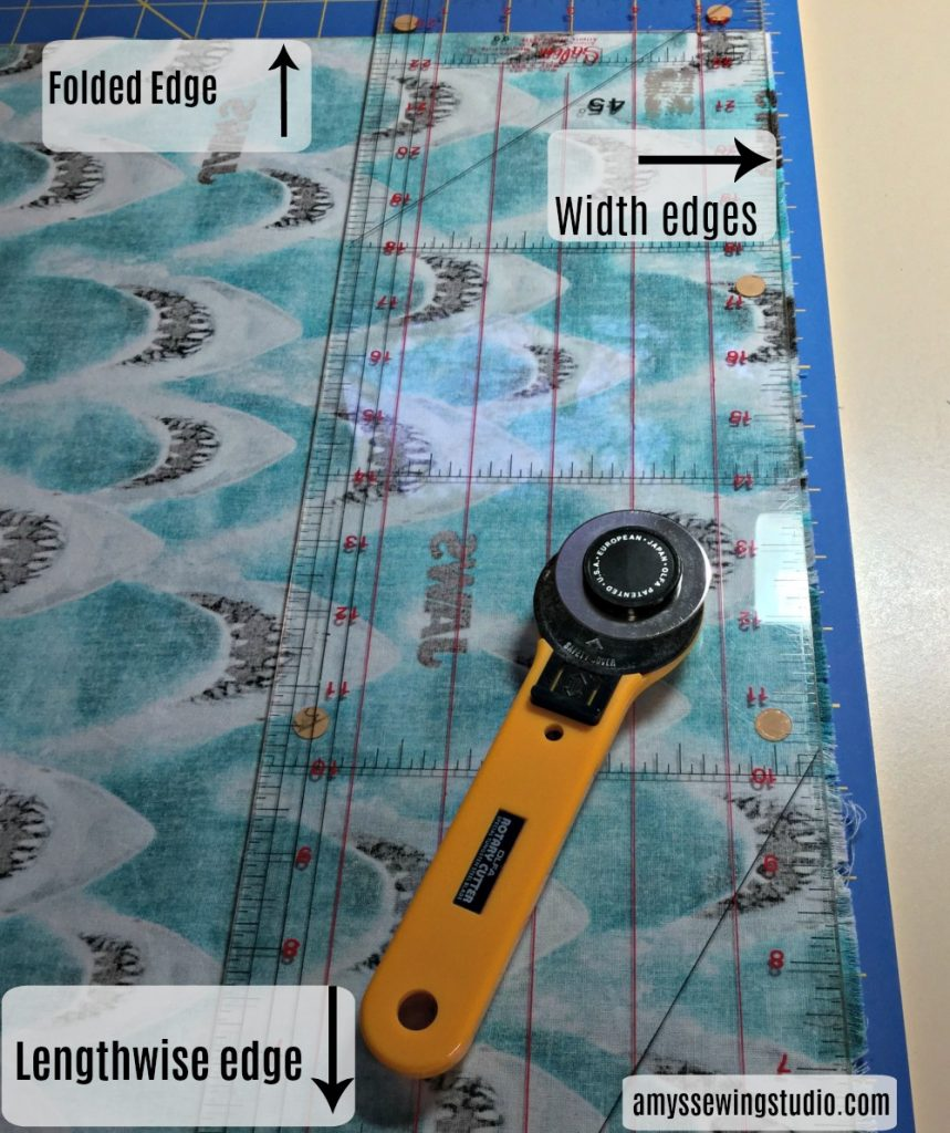 Easy Pillowcase Tutorial-Use a transparent ruler and rotary cutter for cutting a quick DIY pillowcase.