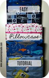 How to make a Quick and Easy Pillowcase Tutorial. Use cotton fabric for simple sewing. Pillowcases can be made for kids and adults; standard and king pillowcase size.