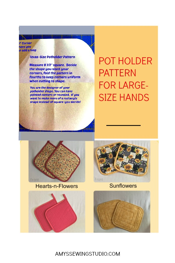 POTHOLDER PATTERN PIN. Use the measurements given to create your own potholder pattern using pattern paper.