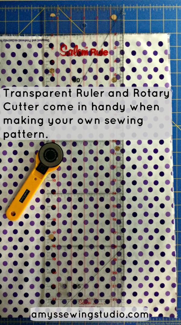 Transparent Ruler and Rotary Cutter come in handy when making your own sewing patterns; especially when cutting fabric to desired sizes or when you are trying to match design patterns on your fabric.  Learn how to Make your own sewing patterns. DIY Sewing without a pattern- Use a Sewing Planner Journal to keep track of all your notes and step by step directions! Click this PIN to READ MORE.....