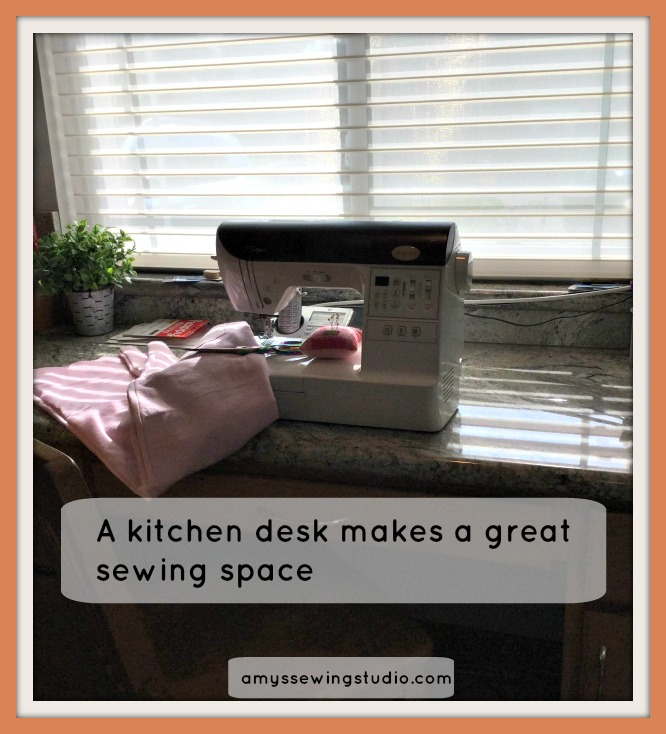 Where can you make a small sewing space? A kitchen desk makes a great place!
