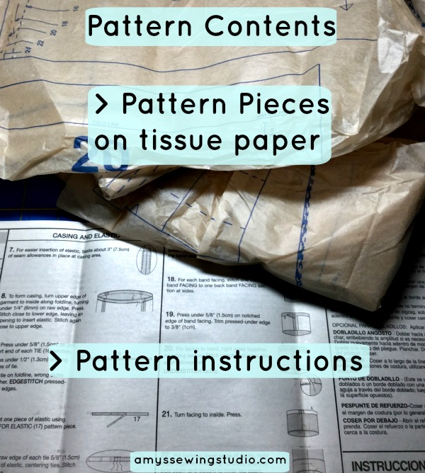 Sewing Pattern Content includes: Project Views, Fabric Layout Guide, Sewing Glossary and Sewing Instructions