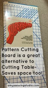 Pattern Cutting Board is a great item for Small Sewing Space! Portable and Collapsable making it easy to store in a closet or under a bed.