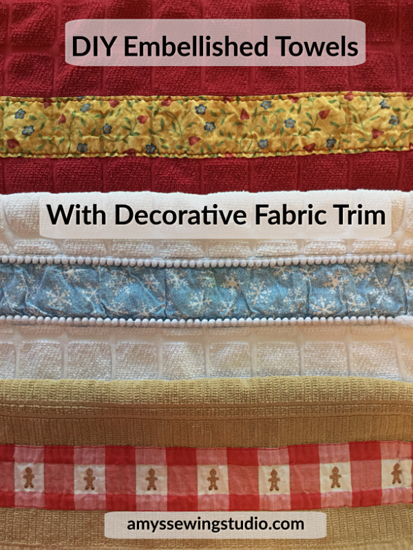 DIY Add Decorative Fabric Trim to Bath Towels OR Kitchen Towels. Check out this SIMPLE tutorial for Beginners