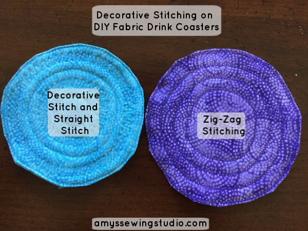 DIY Fabric Drink Coasters. Use Decorative Stitching to finish up these Sew Simple Fabric Drink Coasters!