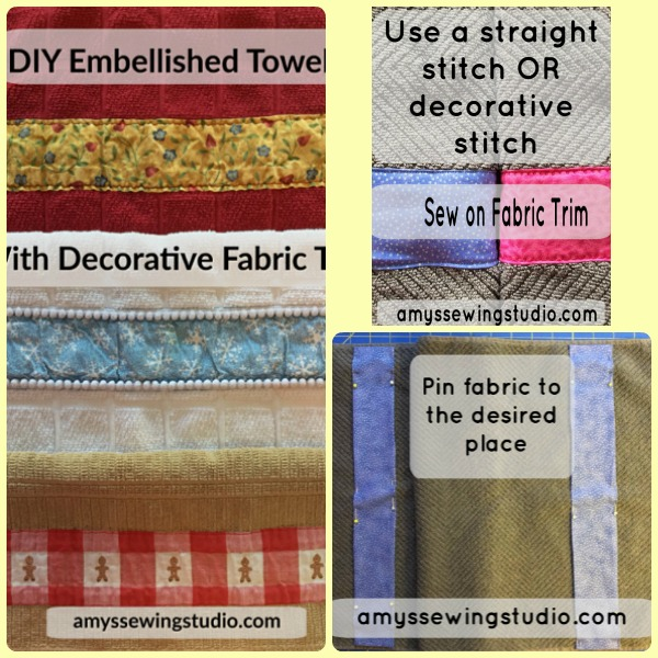 Add some fun fabric trim to your towels! These towels could be for the bathroom or kitchen.  This is a great gift idea-personalize with the fabric you choose!