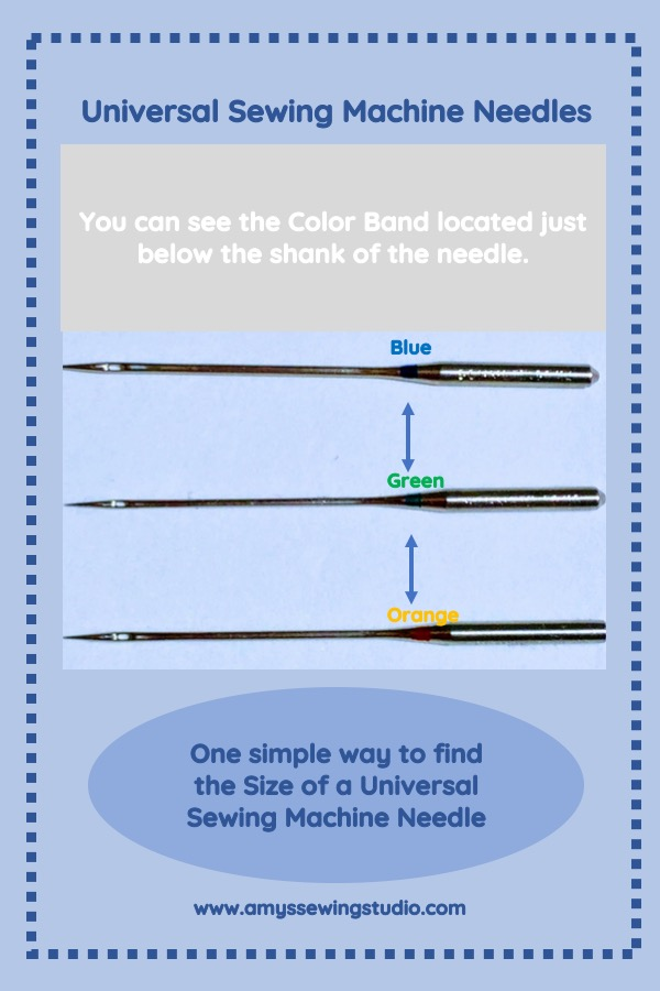 Universal Sewing Machine Needle Sizes: How can you tell what size of needle you have if your needle is in NOT in the package? There are two immediate ways to figure this out! One way, as shown in the photo above, is to look just below the top/shank of the needle. A color band helps you quickly identify what size needle you have. Click on this photo to read about the second easy way to find a needle size!