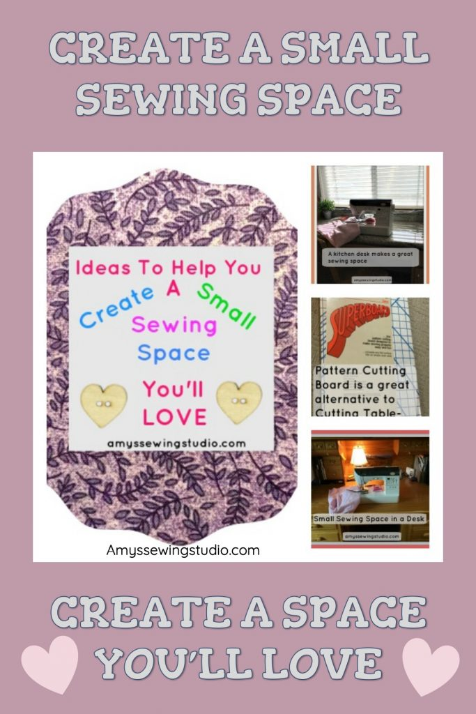 Create a Small but functional Sewing Space anywhere! Finding a place in your house to put a sewing machine is all you need! Click to find ideas!