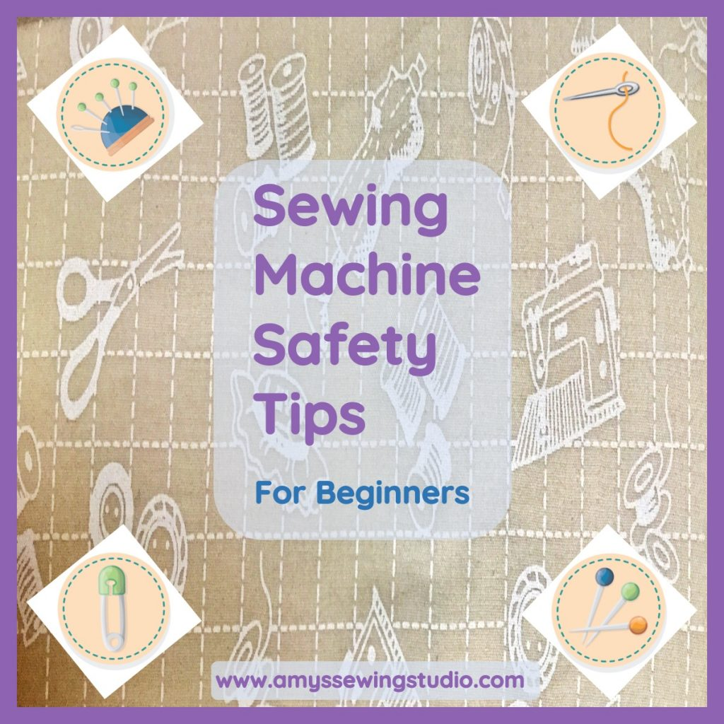 Sewing Machine Safety Tips for Beginners. When you first start learning to sew, it is hard to remember ALL these safety tips! Click on this pin to get a PDF of Sewing Machine Safety Tips!