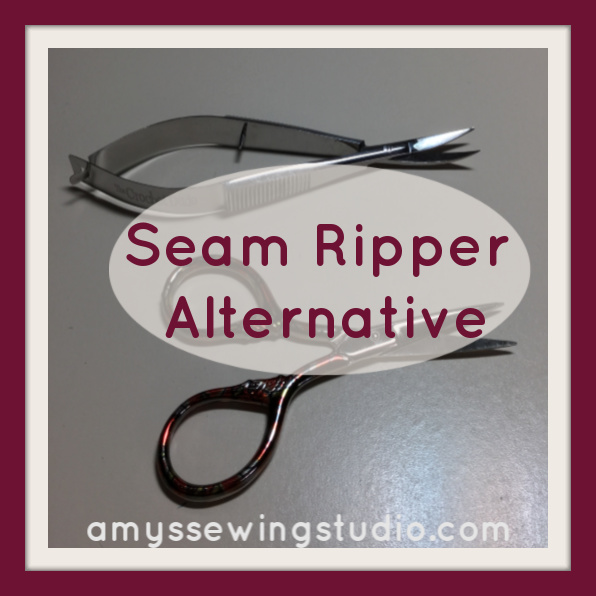 When a Seam Ripper just won't do the job- You NEED a Seam Ripper Alternative! Embroidery Scissors are one alternative that have long slender sharp blades that can undo reinforced seams SO much easier!
