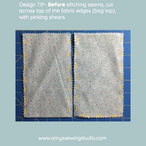 Sew A Fabric Gift Bag- Fabric Gift Bags are a great idea for Gift Cards! Add a 'Handmade' touch to a gift card GIFT. Click on this Photo to see an Easy, Simple Tutorial. This is a great beginner project for practicing Sewing straight seams, using pinking shears for seam finish and sewing right angled corners!