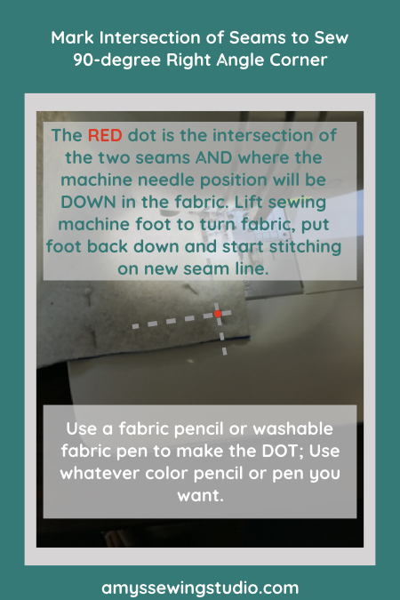 How to Sew 90-degree Right Angle Corner and Mark Intersection of two seams for easy guide point for sewing.