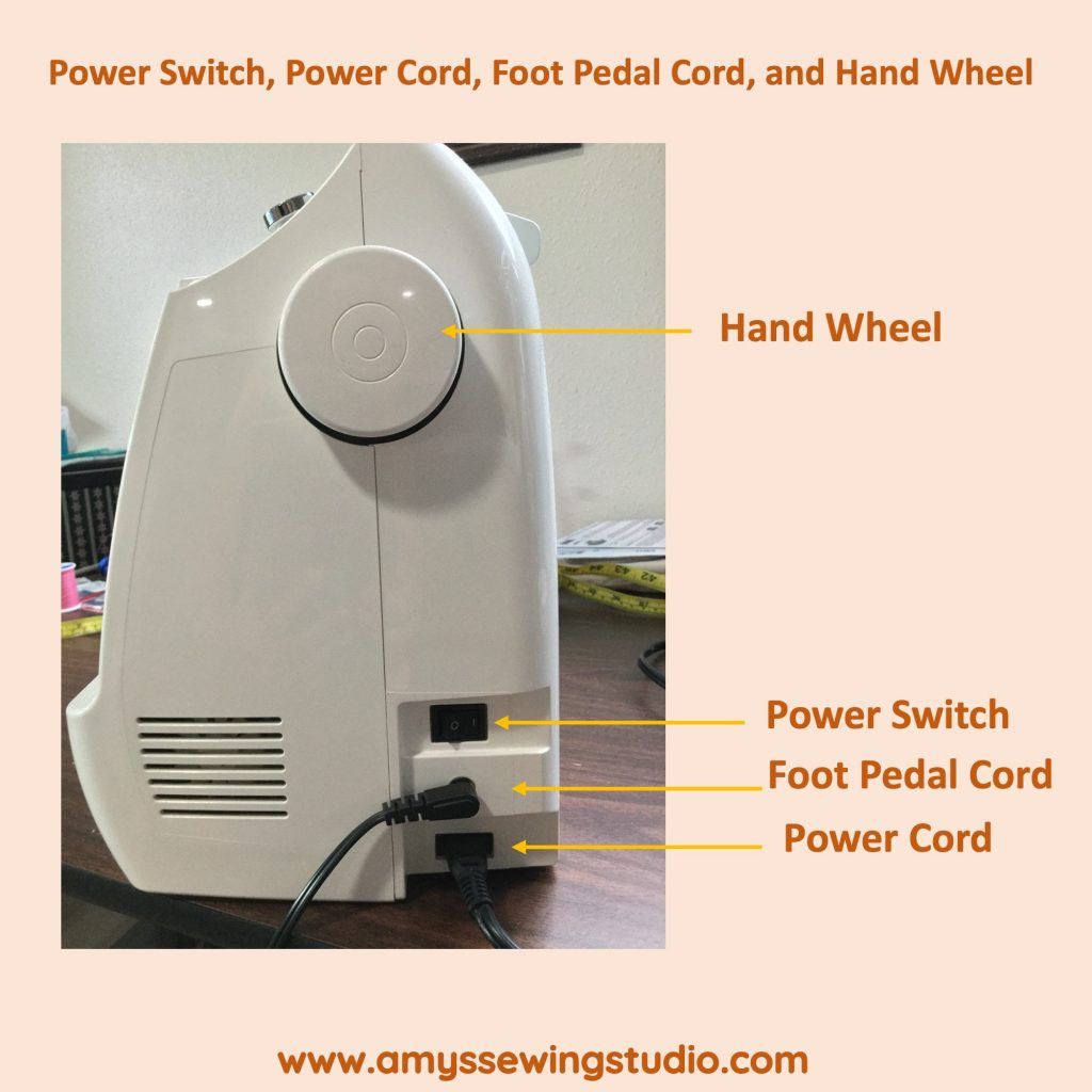 How to Set up a Sewing Machine-Figure out where the cords of the machine are located. Side View of Cords