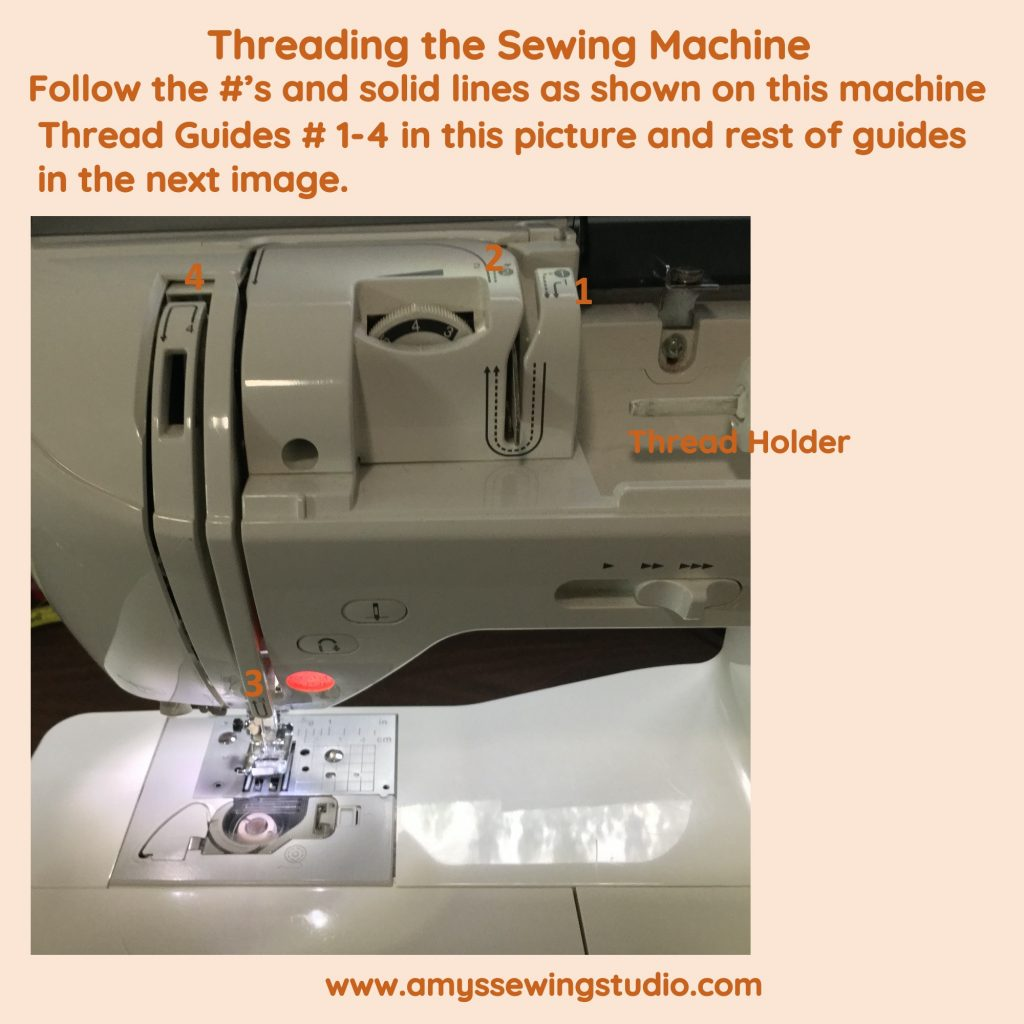 Threading a Sewing Machine. Follow thread guides to move thread to get ready to put thread in the needle.