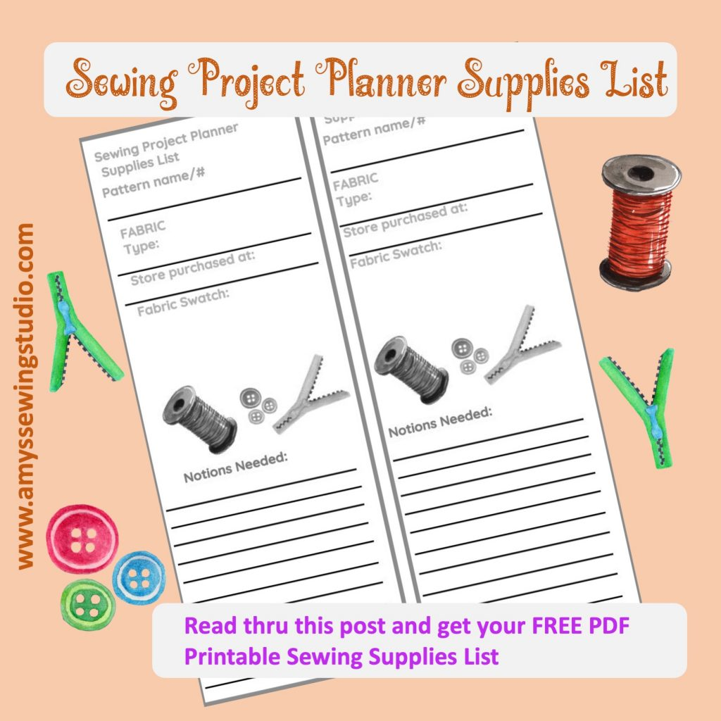 Use a special list just for your 'sewing' shopping trips! Use this Sewing Project Planner Supplies List for keeping track of the notions you might need to replenish for your special project OR what you'd like to get in the future!