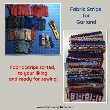 "Fabric Garland Tutorial. Cut LOTS of fabric strips at approx. 3/4"" by 7"". Click this photo to see ENTIRE ' Fabric Garland' Tutorial! Great photos for this sewing project too! This is a great Sewing Project for Beginners."