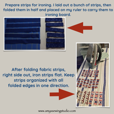 Make Fabric Garland. Preparing fabric strips- Iron and then Sew. Click this photo to see ENTIRE 'Make Fabric Garland' Tutorial! Great photos for this sewing project too! This is a great Sewing Project for Beginners.