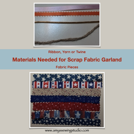 Make Scrap Fabric Garland- Main materials for this project are scrap fabric and ribbon. Click this photo to see ENTIRE 'Make Fabric Garland' Tutorial! Great photos for this sewing project too! This is a great Sewing Project for Beginners.