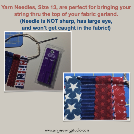 Sew Fabric Strip Garland-Use a #13 Yarn Needle for bringing ribbon thru all your fabric strips.